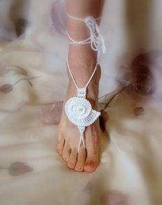 Sea Shell Crochet Barefoot Sandals | YouCanMakeThis.com