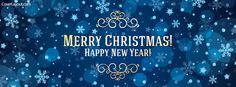 Blue Merry Christmas and Happy New Year Facebook Cover coverlayout.com