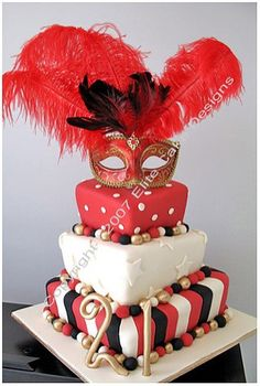 Our original Masquerade Madhatter cake featuring exlusive feathers and mask! Visit our exclusive Birthday Cake design gallery to witness the quality of our cake designs. Masquerade Ball Decorations, Masquerade Cakes, Masquerade Wedding, Masquerade Theme, 21st Birthday Cakes, 21 Birthday, Novelty Cakes, Fancy Cakes, Cake Designs