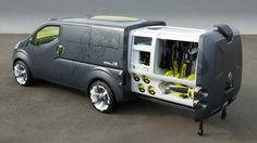 Nissan will showcase the concept at the upcoming Tokyo Motor Show - an innovative mix of mobile office and van in one unique package. Minivan Camping, Vw Camping, Motorcycle Camping, Kombi Motorhome, Camper Trailers, Campervan, Astuces Camping-car, Nissan Vans, Kangoo Camper