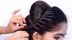 Easy Bridal Hairstyle Step By Step - Hairstyle With Trick / Braids Hairs... 5 Minute Hairstyles, Step By Step Hairstyles, Braided Hairstyles, Cool Hairstyles, Party Hairstyles For Girls, Black Girls Hairstyles, Fall Hair Trends, Bridal Hairstyle, Trending Hairstyles