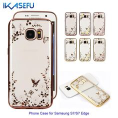 IKASEFU Fashion Plated Frame Ultra-thin Case for Samsung Galaxy S7 S7 Edge with Diamond Floral Soft Transport TPU Back Cover