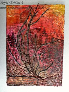 Abstract art 'Autumn' by Ingrid Kristina V (Ingrid's Crafts Corner) - collage, Big Brush pens, modeling paste, stencils, stamping, bronze heat embossing... more info on the blog...