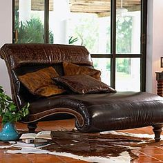 Beautiful Leather Movie Chaise...Maybe I Can Ask Chris To Swap The Lazy Boy