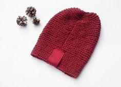 Knit Women Hat/ Knitted Hat/ Burgundy Hat/ Teen by NataNatastudio