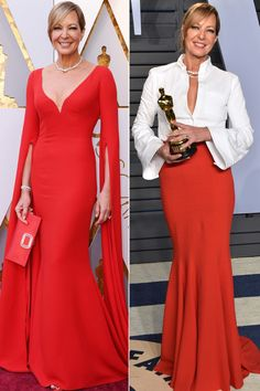 ALLISON JANNEY (58) Oscar 2018 gown and after party gown #Fashionover45 #Fashionover50 #Fashionover55