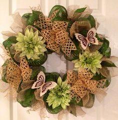 Summer/Fall Deco Mesh Wreath (green/burlap) on Etsy, $42.00