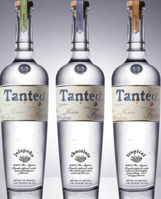 Tanteo Tequila on Packaging of the World - Creative Package Design Gallery Flavored Tequila, Top Tequila, Best Tequila, Tequila Bottles, Alcohol Bottles, Liquor Bottles, Agave, Famous Drinks, Snacks
