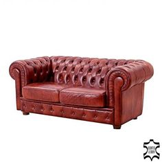 Don't buy a boring brown Chesterfield, but show off by buying a racing-green, an old-pink or, here chestnut-red real leather. EUR 1.649,99