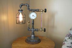 Steampunk Lamp Light Industrial Art Machine Age Salvage Steam Gauge Clock Works!