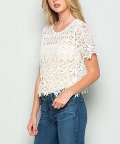 Take a look at this Acting Pro White Floral Lace Crop Top today!