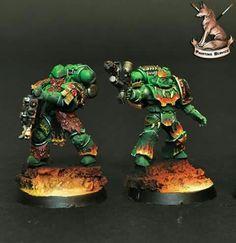 Warhammer 40k Salamanders, Salamanders Space Marines, Warhammer 30k, Paint Schemes, Bowser, Minis, Artwork, Painting, Ideas