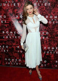 Miranda Kerr made dressing in white look sexy as hell. The Aussie model posed on the red carpet celebrating the opening night of Romeo & Juliet on Broadway. #SelfMagazine