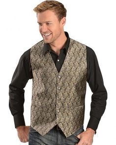 Gibson Black and Gold Paisley Vest