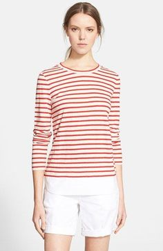 Tory+Burch+Woven+Hem+Stripe+Linen+Pullover+available+at+#Nordstrom