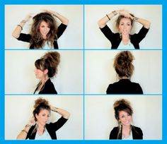 monster teased hair pulled into a sky-high messy bun Used to rock this look in high school. Called it 'The Squirrel' but I never teased my hair.it was just gross from sports Messy Hairstyles, Pretty Hairstyles, Updo Hairstyle, Wedding Hairstyles, Wedding Updo, Latest Hairstyles, Hairstyle Ideas, Style Hairstyle, Popular Hairstyles