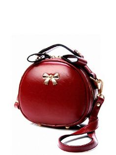Solid Bow Round Shape Cross Body Bags