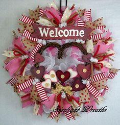 Welcome Valentine Mesh Wreath Country Mesh Wreath Valentine