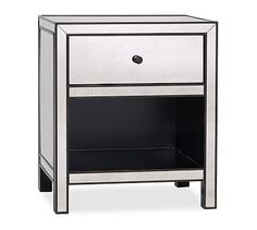 Shop nightstand from Pottery Barn. Our furniture, home decor and accessories collections feature nightstand in quality materials and classic styles. Pottery Barn Furniture, Mirrored Bedroom Furniture, Glass Furniture, Bedroom Dressers, Distressed Furniture, Nightstands, Furniture Storage, Mirror Bedside Table, Mirrored Nightstand