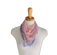 Vintage 40s Pink Mexican Design Silk Scarf