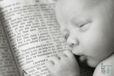 newborn photography, baby with Bible photo, #DeannaHurleyPhotography