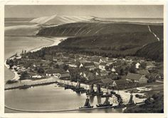 Nidden, Hafen und Teilansicht nach Süden, Luftbild