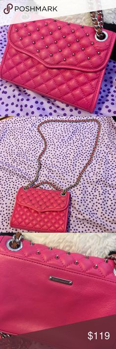 Rebecca Minkoff quilted mini affair pink studded Rebecca Minkoff quilted mini Affair pink studded crossbody chain handbag Feel free to make an offer.  Used and in clean and good condition. No stains or rips. It's big enough for a wallet, iPhone X, car key and a lipstick.  Check out my other listing to creat bundles and save a lot more $$$. Rebecca Minkoff Bags Crossbody Bags