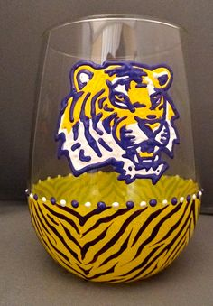 Stemless or Stemmed LSU Tiger Striped Glass. $20.00, via Etsy.