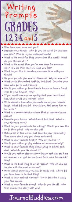 In these all-new prompts, your students will write about themselves! These themed writing prompts for 1st to 5th grade students are all centered around the ideas of identity and personality. 1st Grade Writing Prompts, Writing Traits, Writing Prompts For Kids, Cool Writing, Writing Lessons, Teaching Writing, 6 Traits, Creative Writing, Writing Ideas
