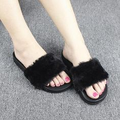 9708e3fdae1 ... China plush slippers Suppliers  Women Slippers Flock Fashion Spring  Summer Autumn Home Plush Slippers Women Faux Fur Slides Flip Flops Flat  Shoes Size