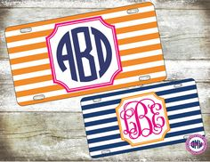 Rugby Stripe Monogrammed Car Tag-Personalized License Plate-Monogram Car Tag-Monogrammed License Plate