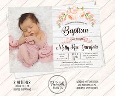 Baptism Invitation Girl Christening Invitation Pink Baptism Source by Baptism Invitation For Boys, Christening Invitations Girl, Girl Christening, Baby Invitations, Baby Dedication Invitation, Christening Dresses, Christening Favors, Digital Invitations, Girl Baptism Centerpieces