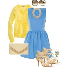 Blue skater dress with beige and yellow
