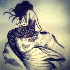 "Título: ""Mermaid"" Autor: Stephie Fuentes Twitter: @SoyStephie_ Técnica: tinta"