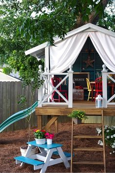 Child's playhouse - love the idea of open sides...