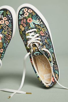 Slide View: Keds x Rifle Paper Co. Pretty Shoes, Cute Shoes, Floral Sneakers, Rifle Paper Co, Painted Shoes, Crazy Shoes, Creations, Footwear, My Style