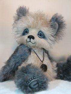 """Stefan, a 16"""" hand-dyed mohair panda bear."""