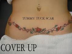 Image result for tummy tuck scar cover tattoo