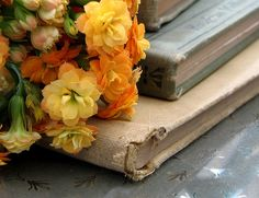 tattered books and lovely bouquet