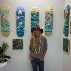 Surf Artist Heather Brown with her original art on skateboard decks HeatherBrownArt.com