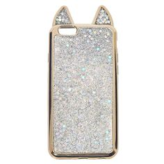 This case is absolute purrr-fection! Metallic silver TPU cat case features a holographic glitter dusting.