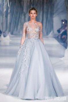 Periwinkle tulle wedding gown with snowflake applique illusion sleeves // Paolo Sebastian 2016 A Wedding Dress Black, Wedding Gowns, Blue Wedding, Wedding Blog, Wedding Ideas, Evening Dresses, Prom Dresses, Formal Dresses, Dresses 2016