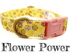 Yellow Flower Dog Collar Organic Cotton Antique by veryvintage
