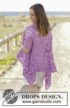 Lilac Dream crochet jacket worked in a square with a lace pattern by DROPS Design Free Pattern