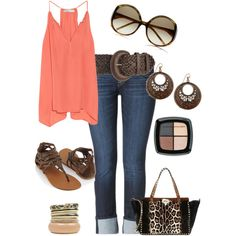 Such a CUTE summer outfit!  I love the coral!  ADORE! #coral #clothing #fashion