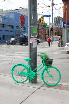 THE GREEN GOOD BIKES pay homage to the great Jane Jacobs by marking sites where urban planning efforts have both succeeded and failed ——- Parliment and Dundas I <3 Jane Jacobs!