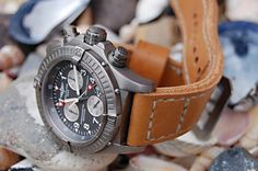 Breitling Chrono Avenger M1 on almond leather with boxed natural stitching.  © Peter Rosehag