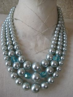 Blue Pearl Necklace Three Strand Pastel by vintagejewelryalcove, $18.50