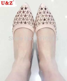 28.32$  Buy here  - Sweet flats shoes!Sping summer 2016 breathable hollow out loafer shoes Pink/white leather,Lovely studded flat shoes young women