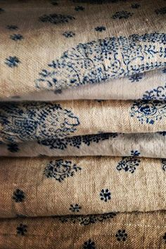 Vintage hemp sheets with navy hand blocking (1) From: Bohemian Pages, please visit